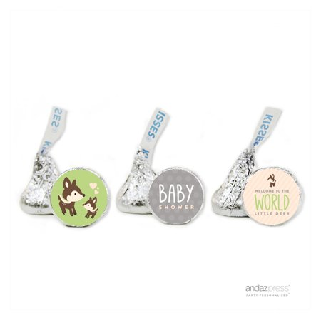 Party Green Woodland Animals Baby Shower Hershey´s Kiss Favor Labels, - Woodland Animal