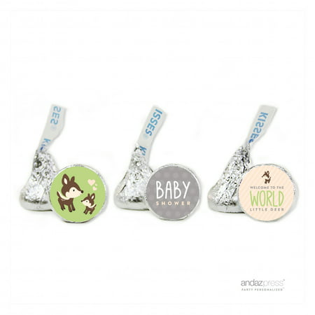 Party Green Woodland Animals Baby Shower Hershey´s Kiss Favor Labels, - Animal Print Baby Shower