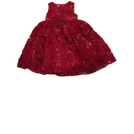 Big Girls Red Ruffle Flower & Sequin Holiday Party Flower Girl Dress  - Size - 5