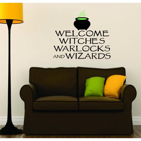 Custom Wall Decal : Welcome Witches Warlocks & Wizards Halloween Sign Seasonal Holiday Decoration Picture Art 16x24