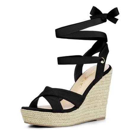 Allegra K Sandales compensées à lacets et espadrilles pour femmes Noir 40.5 EU - image 7 de 7
