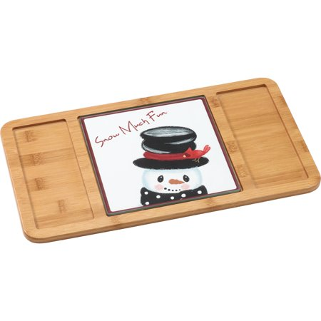 Precious Moments Snow Much Fun Bamboo Serving Board With Glass Snowman Insert 181407