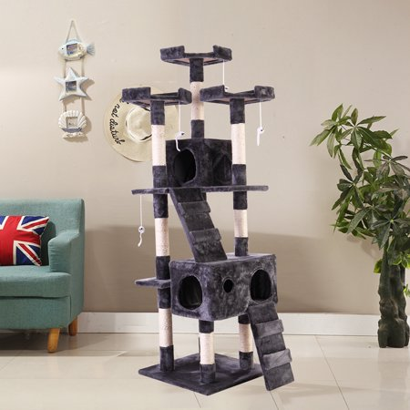 "Jaxpety 67"" Cat Tree Pet Kitty Play House Tower Condo Furniture Scratching Post Gray"
