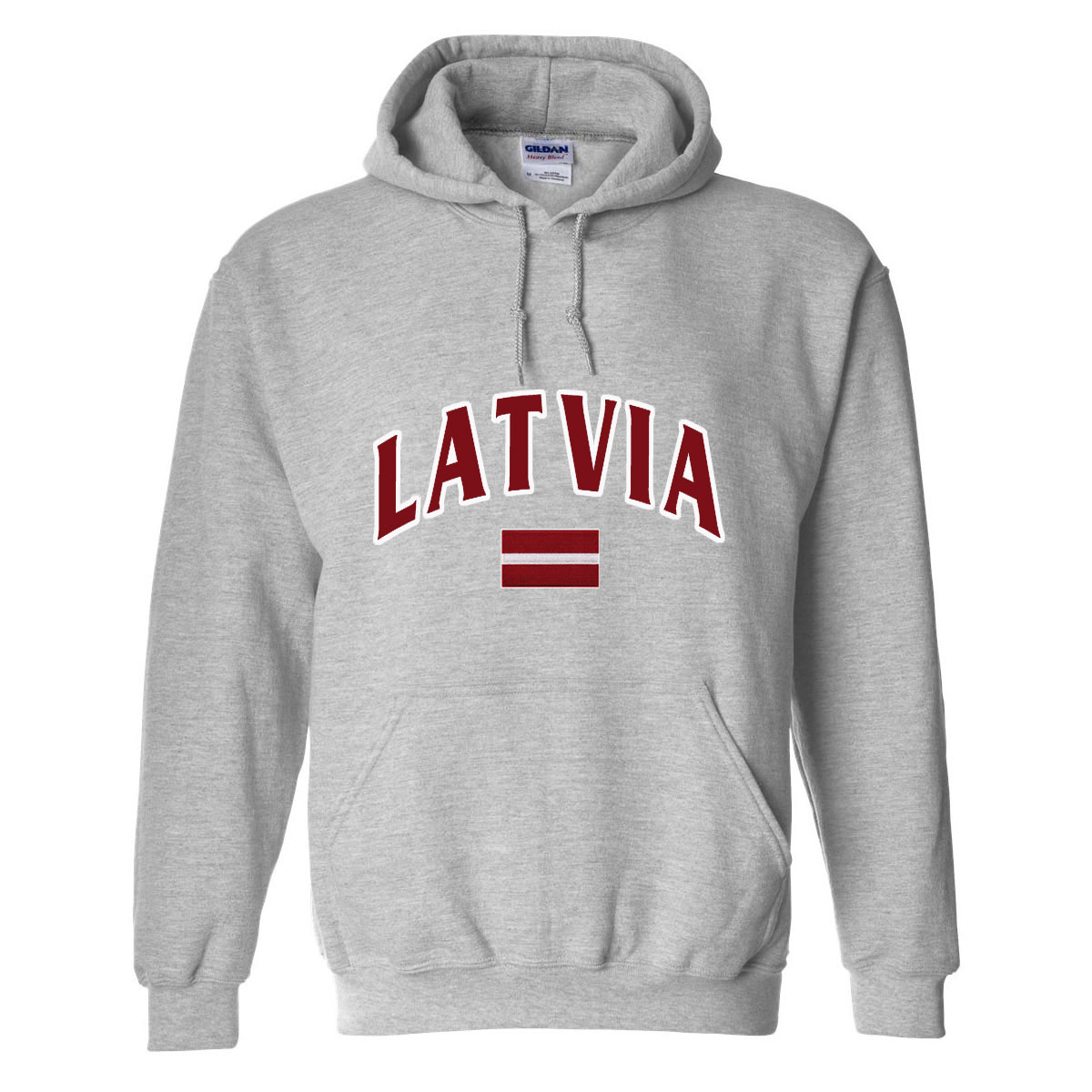 Latvia MyCountry Pullover Arch Hoody (Sport Gray) - Large