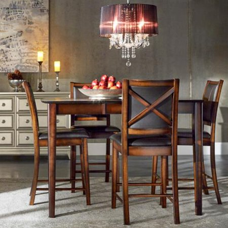 Inspire q frisco bay burnished oak 5 piece extending for Inspire q dining room chairs