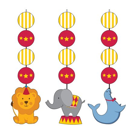 Circus Time Hanging Cutout Decorations (3 Count) - Circus Door Decorations