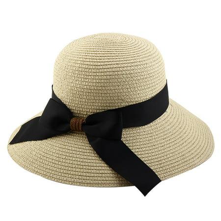 Straw Hats For Women - Women Lady Straw Bowknot Decor Brimmed Beach Hat Foldable Topee Floppy Cap Beige
