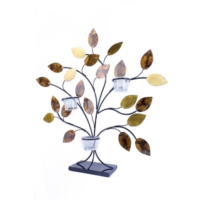 Heather Ann W08988CT-03 Tree of Light Foiled and Lacquered Decorative 3-Votive Holder, Gold, Copper, Brown & Orange - image 1 de 1