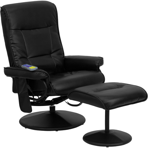 Flash Furniture Massaging Leather Recliner and Ottoman, Black