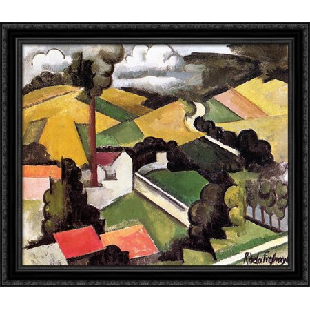 Wood Chimney - The Factory Chimney, Meulan Landscape 34x28 Large Black Ornate Wood Framed Canvas Art by Roger de La Fresnaye