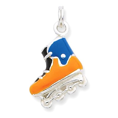 Sports Mom Charm - ICE CARATS 925 Sterling Silver Enameled Roller Blade Pendant Charm Necklace Sport Inline Skating Fine Jewelry Ideal Gifts For Women Gift Set From Heart