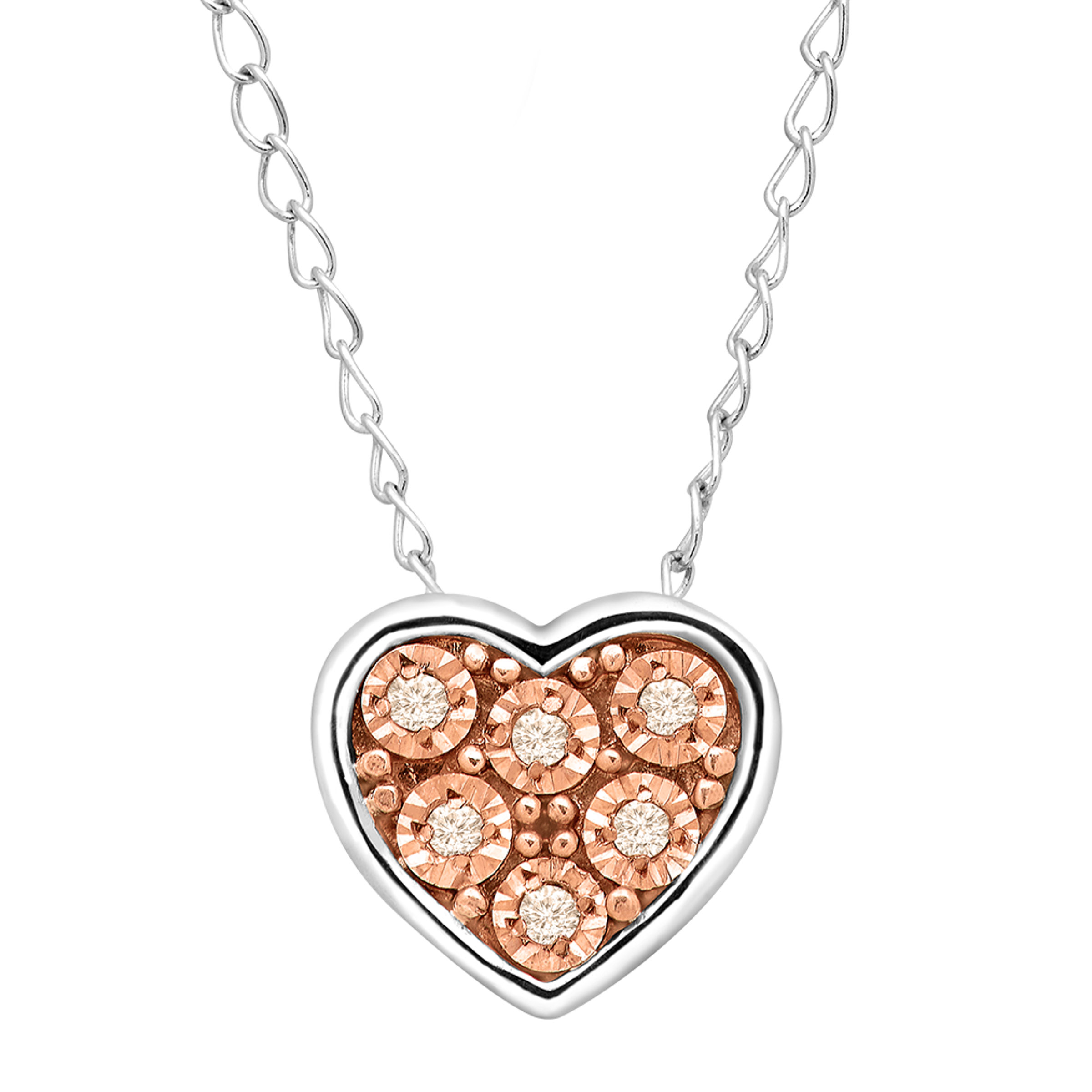 Finecraft Teeny Tiny Heart Pendant with Champagne Diamonds