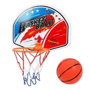 "Slam Dunk Mini Basketball Hoop Set - Over The Door Plastic Toy Backboard 14 X 10"" w/ Net, 1 Ball & Ball Pump. Simple Assembly, Hanger Mount Game for Kids Children"