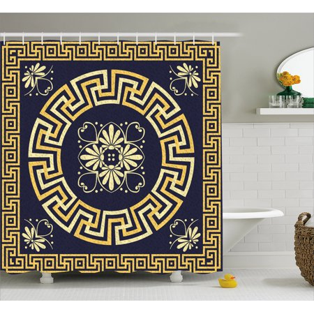 Greek Key Shower Curtain, Meander with Spring Inspired Floral Detail Rich and Retro Entangled Maze, Fabric Bathroom Set with Hooks, 69W X 70L Inches, Dark Blue Yellow, by Ambesonne (Geek Shower Curtain)