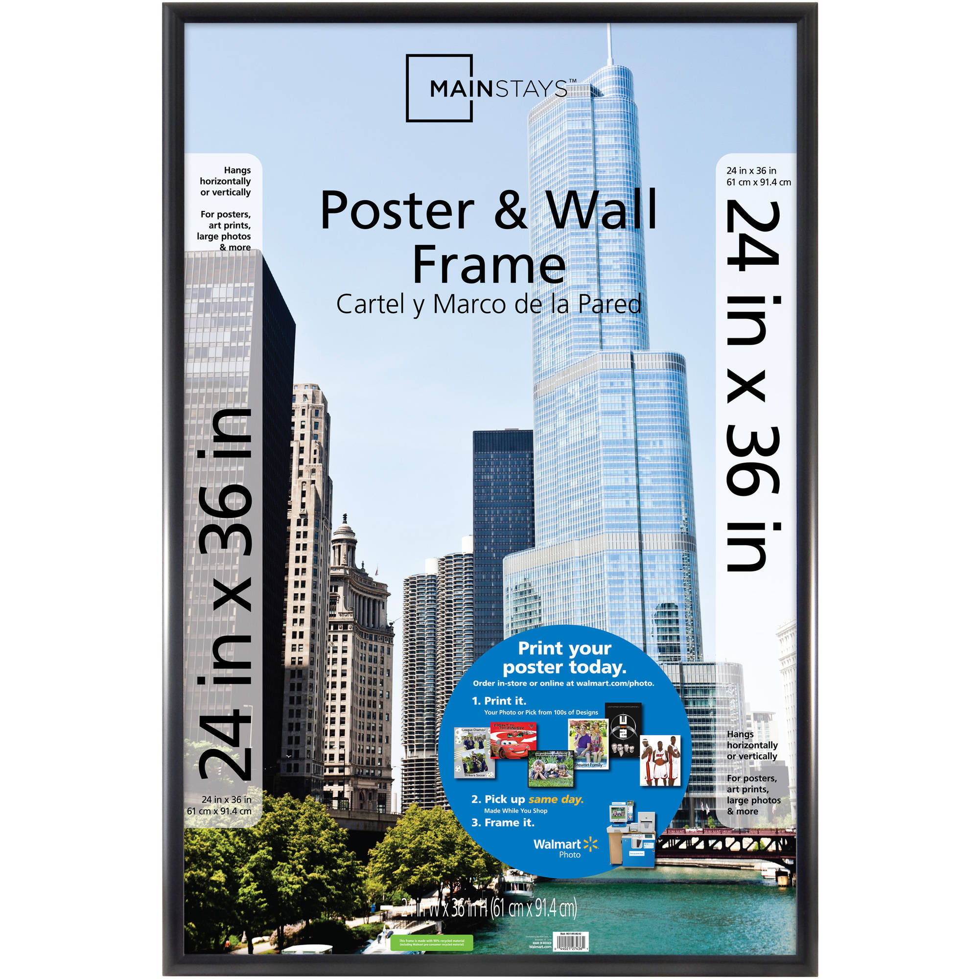 Mainstays 24x36 Trendsetter Poster and Picture Frame, Matte Black