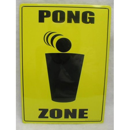 Beer Pong Zone Yellow And Black Novelty College Dorm Man Cave Metal Sign Plaque