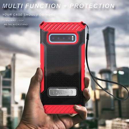Beyond Cell Military Grade Shockproof Phone Case (Red/Black) Compatible with Samsung Galaxy S10+ Plus with Tempered Glass Screen Protector and Atom Cloth (Samsung Tablet Military Case)