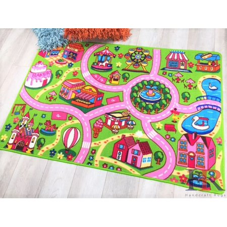 Road Rugs by Handcraft Rugs- Dream land Driving Fun Pink, Green and Multi Color Anti Slip Rug (Approximately 8 fit by 10 fit)