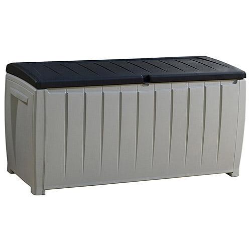 Keter Novel Outdoor Plastic Deck Box, All-Weather Resin Storage, 90 Gal, Black