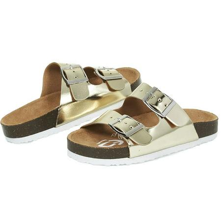 bebe Girls Big Kid Two Buckle Strap Cork Footbed Slide Sandals Size 4