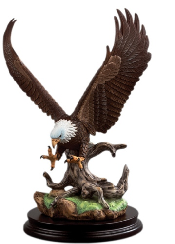 Andrea by Sadek Hand Painted Porcelain Open Wing Bald Eagle Sculpture Figurine by Sadek