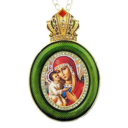 Icon Pendant And Frame Madonna & Child Green Faberge Style Icon Pendant W Crown & Chain To Hang, Wall Room Car Christmas Tree Decoration Gift By World Faith ()