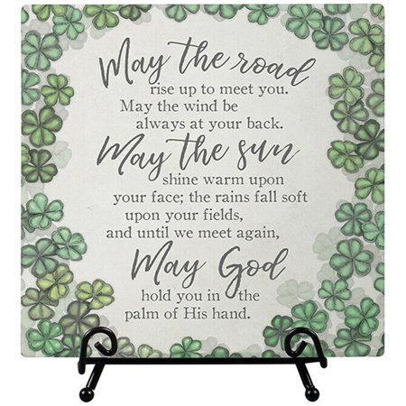 May The Road Rise Up IRISH BLESSING Ceramic Plaque with Easel, 6