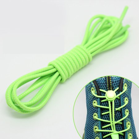 1 Pair Lock Laces 100cm No Tie Elastic Shoelaces for Kids & Adults - Stretch Shoe Laces for Sneakers - Green Clay Tennis