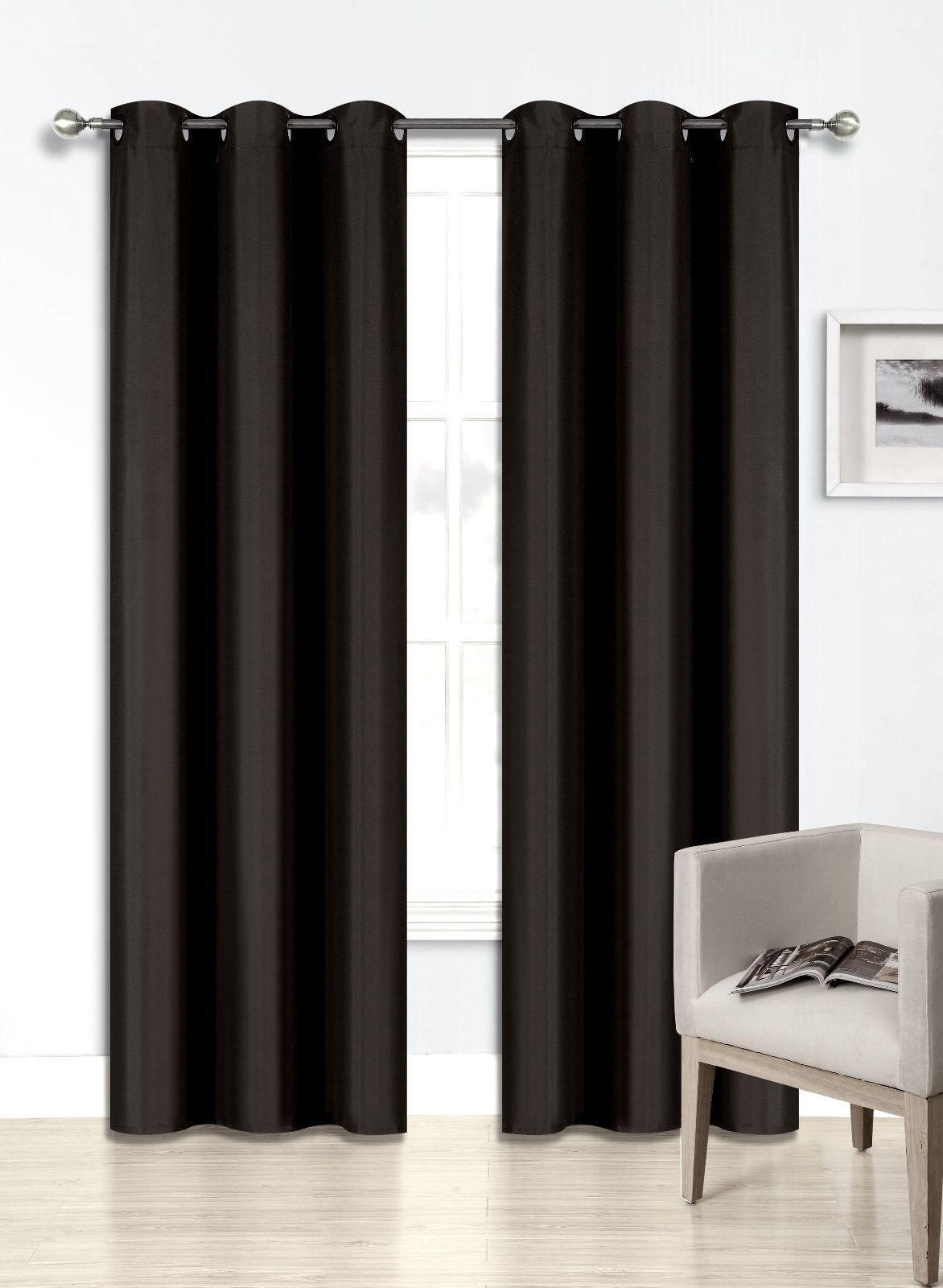 """(SSS) 2-PC Black Solid Blackout Room Darkening Panel Curtain Set, Two (2) Window Treatments of 37"""" Wide x 84""""... by"""