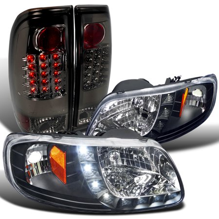 Spec-D Tuning 1997-2003 Ford F-150 Crystal Black Smd LED Headlights + Smoke Rear Led Tail Lights (Left + Right) 97 98 99 00 01 02 03
