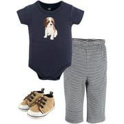 Hudson Baby Boy Short Sleeve Bodysuit, Pants & Shoes, 3pc Outfit Set