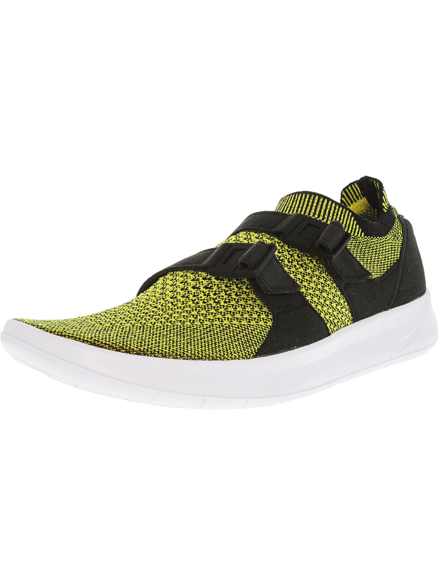 6a044bec6d0e Nike Women s Air Sockracer Flyknit Black   White Yellow Strike Ankle-High  Running Shoe - 7M
