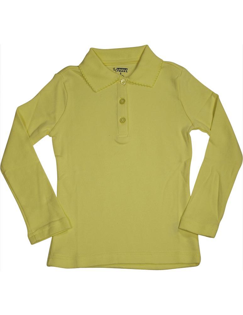 French Toast School Uniform Big Girls Plus Size Long Sleeve Interlock Polo Shirt, 33666 Yellow / 18.5Plus