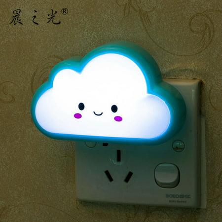 Cartoon Cloud Shape Bedside Lamp Cute LED Night Light for Bedroom 2 Flat Plug Style Color:blue Power:0.1w - image 2 de 2