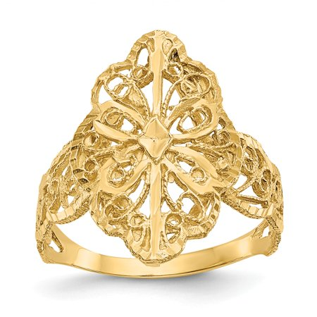 14k Gold Diamond-Cut Filigree Ring - Size 6