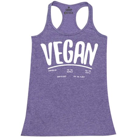 Shop4Ever Women's Vegan For Animals For People Health Racerback Tank Top