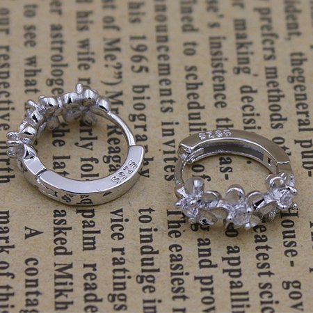 Women Girls Earrings Clip Plated 925 Silver Hypoallergenic Hinged Hoop Earrings Flower Rhinestone - image 6 of 7