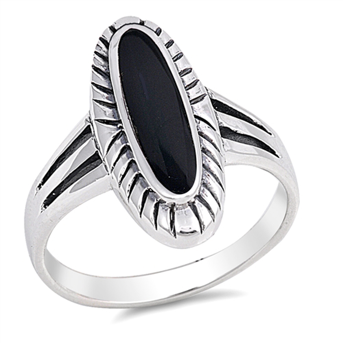 Sterling Silver Women's Simulated Black Onyx Wide Oval Ring (Sizes 6-12) (Ring Size 6)