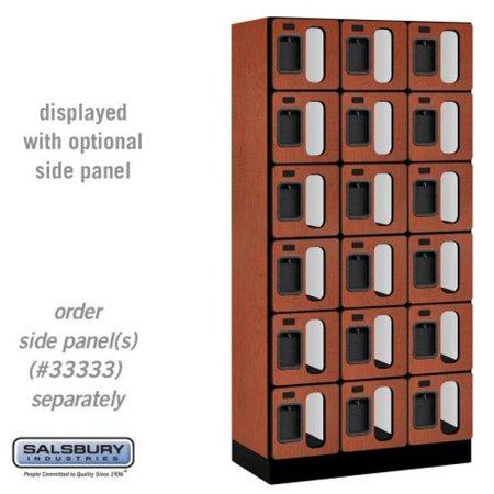 - Salsbury Industries 6-Tier Box Style See-Through Designer Wood Locker with Three Wide Storage Units, 6-Feet High by 18-Inch Deep, Cherry