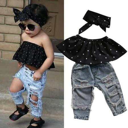 Infant Baby Girls Dot Sleeveless Tops+Hole Denim Pants+Headband 3pcs Clothes Set