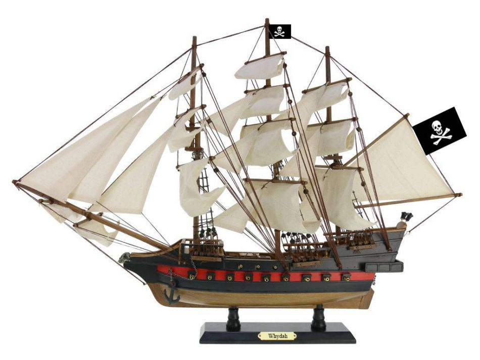 """Wooden Whydah Gally White Sails Limited Model Pirate Ship 26"""" Decorative Ship Model Boat by Hampton Nautical"""