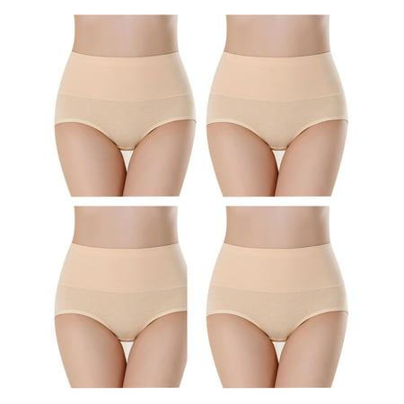 Solid Brief Panty (SAYFUT Women's Cotton Brief Panty High Waist Full Coverage Solid Underwear 4-Pack)