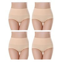 SAYFUT Women's Cotton Hi-Cut Panties Full Coverage Brief Underwear 4-Pack