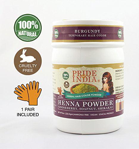 Pride Of India Herbal Henna Hair Color W Gloves Burgundy Half
