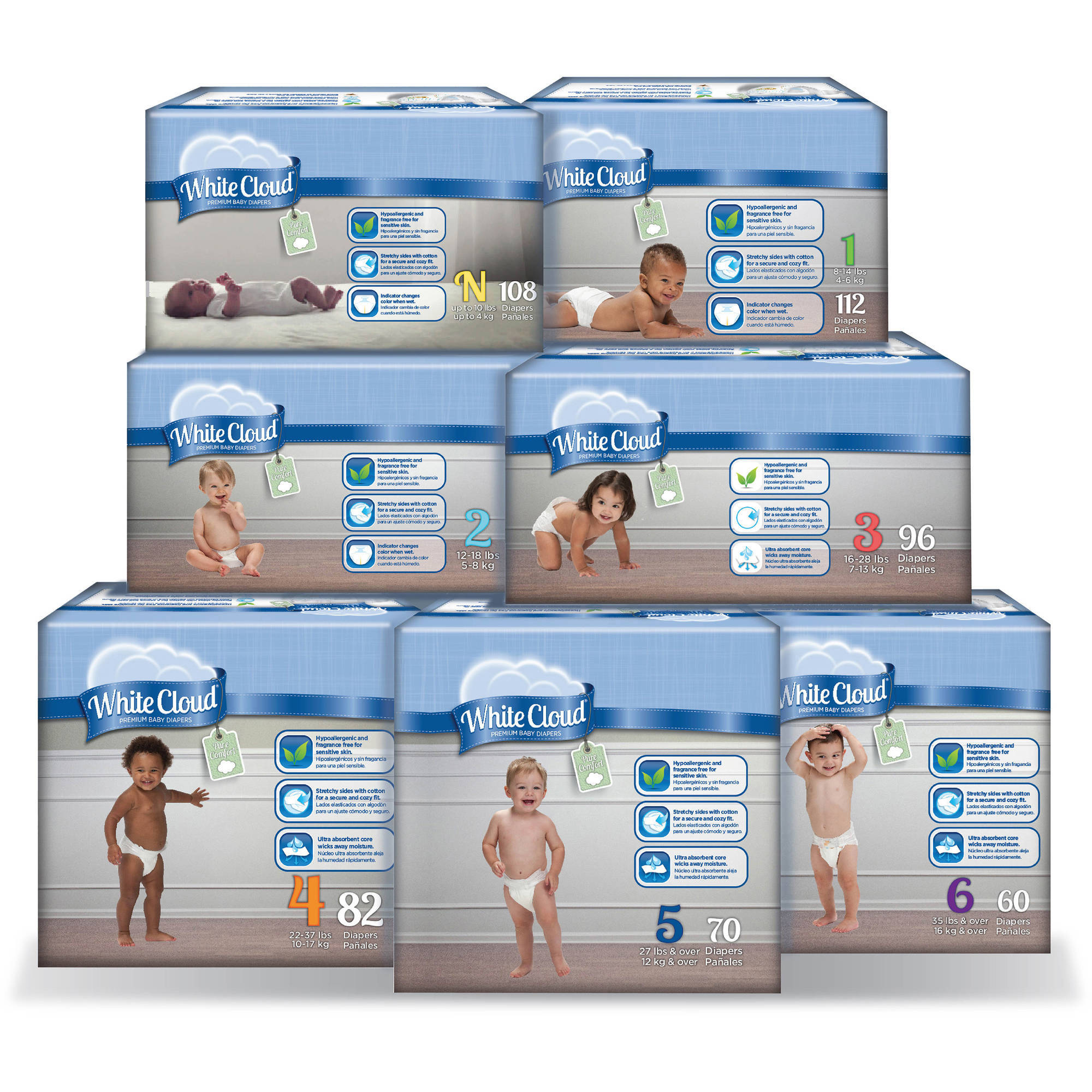 White Cloud Diapers (Choose Your Size)
