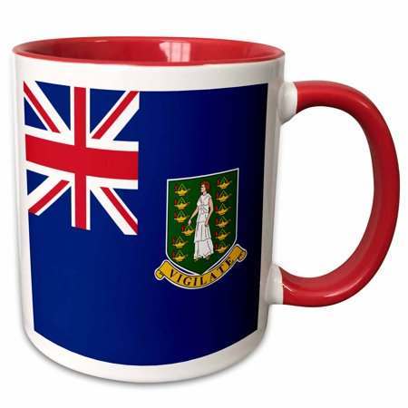 - 3dRose Flag of the British Virgin Islands British Union Jack on blue with Saint Ursula shield coat of arms - Two Tone Red Mug, 11-ounce