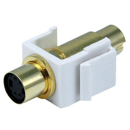 Monoprice S-Video 4-pin Mini DIN Male/Female Keystone Jack - White (S-video Jack)