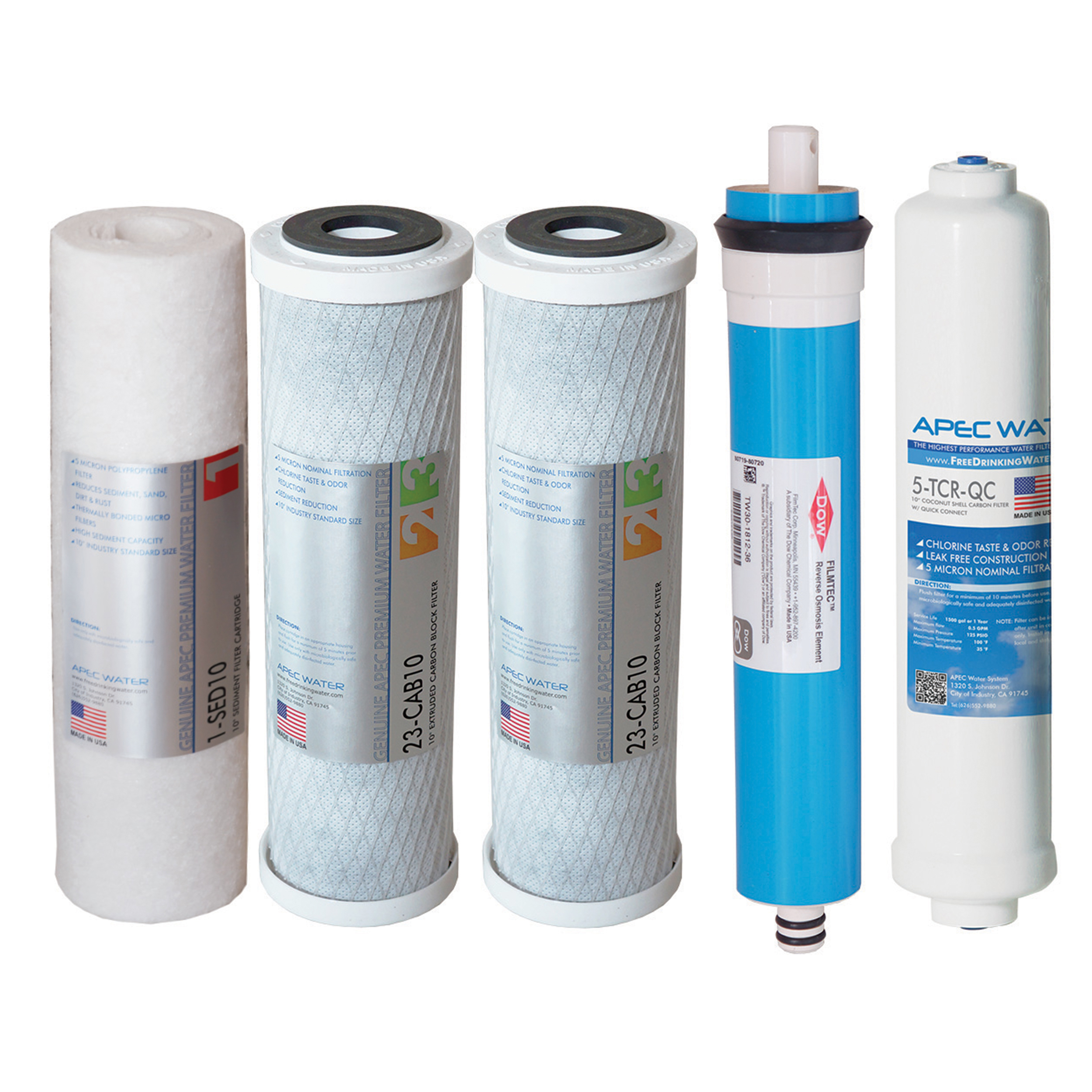 APEC FILTER-MAX90 US MADE 90 GPD High Flow Complete Replacement Filter Set For ULTIMATE Series Reverse Osmosis Water Filter System