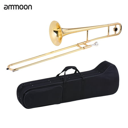ammoon Alto Trombone Brass Gold Lacquer Bb Tone B flat Wind Instrument with Cupronickel Mouthpiece Cleaning Stick Case - image 2 of 2