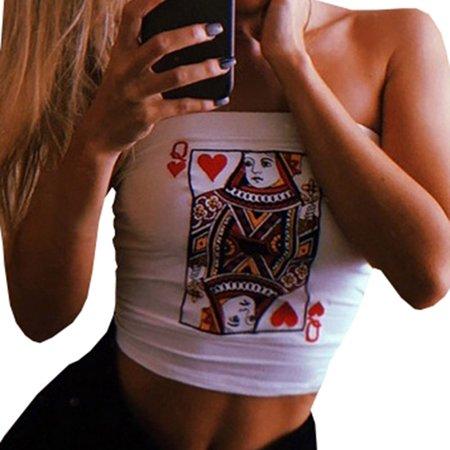 Fancyleo Women's Sexy Poker Print Tube Top T-Shirt ()